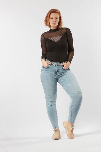 A-Fit-Jeans gebleicht mit hohem Bund