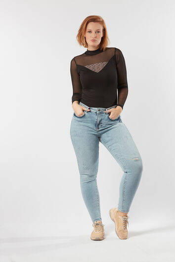 A fit high waist jeans bleach