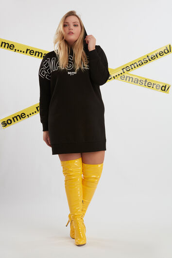 Sweater-Kleid mit Rubber-Print